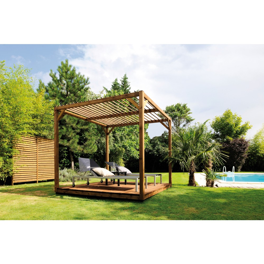 pergola en bois 256 x 256 cm 6 6 m2 cubik. Black Bedroom Furniture Sets. Home Design Ideas