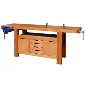 Établi bois - menuisier - professionnel - 2 m - 4 tiroirs - Avec étau OUTIFRANCE