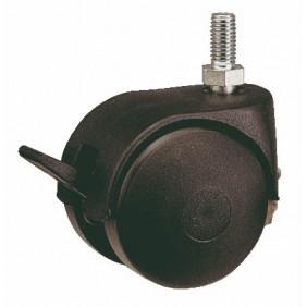 Roulette Twiny chapée avec frein, sur tige filetée GUITEL