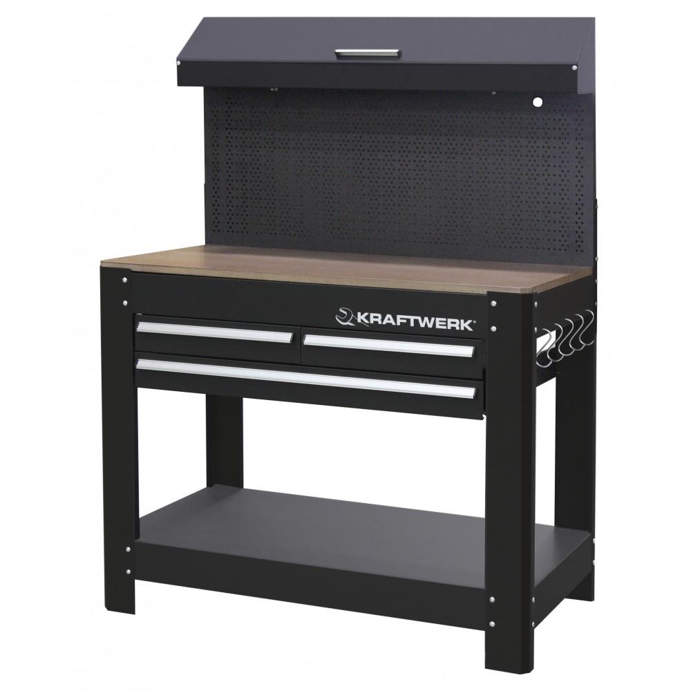 tabli atelier 3 tiroirs en acier avec plan de travail en h tre kraftwerk bricozor. Black Bedroom Furniture Sets. Home Design Ideas
