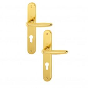 Poignées de porte sur plaques - laiton poli - Roissy HOPPE