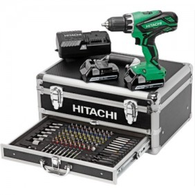 Perceuse à percussion - Visseuse 18 V + coffret 100 accessoires HITACHI