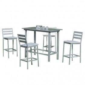 Set bar de jardin - 4 chaises hautes - TROPEA HEVEA