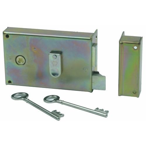 Serrure de grille - pose en applique horizontale - fouillot à gorges - 7487