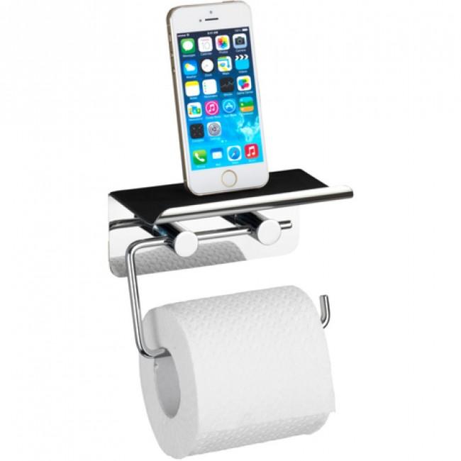 Dérouleur papier WC avec support smartphone en acier inox WENKO