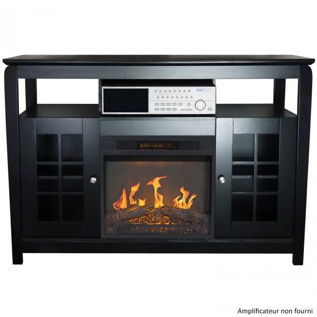 Meuble TV - avec cheminée électrique - Osaka noir CHEMIN' ARTE