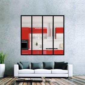 Kit verrière intérieur avec vitrage - 4 panneaux - 125x135 cm Design Production
