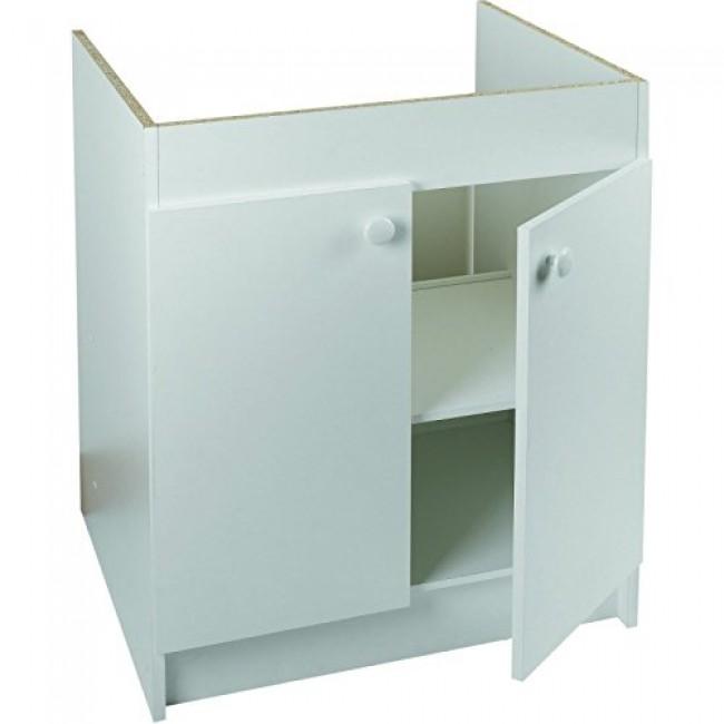 Meuble sous-évier blanc avec étagère et panneau arrière
