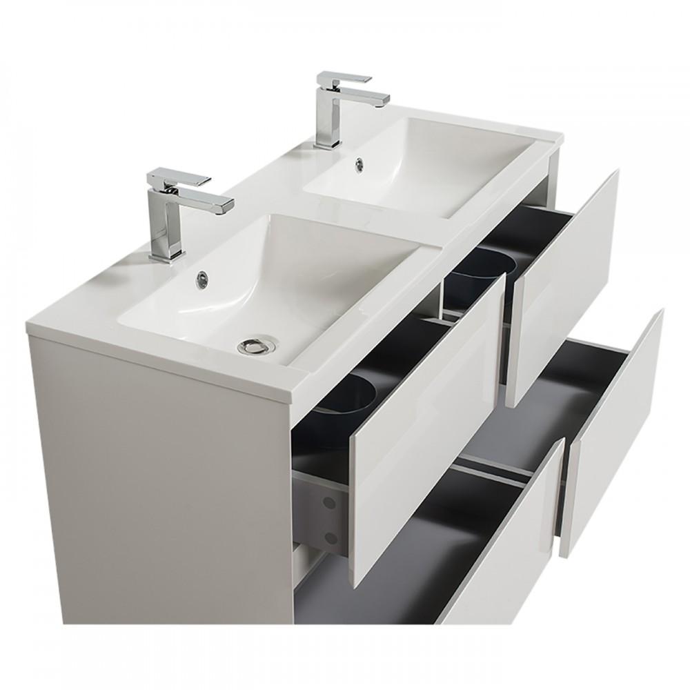 Meuble de salle de bains blanc - double vasque - 120 cm - Sia BATHDESIGN  sur Bricozor
