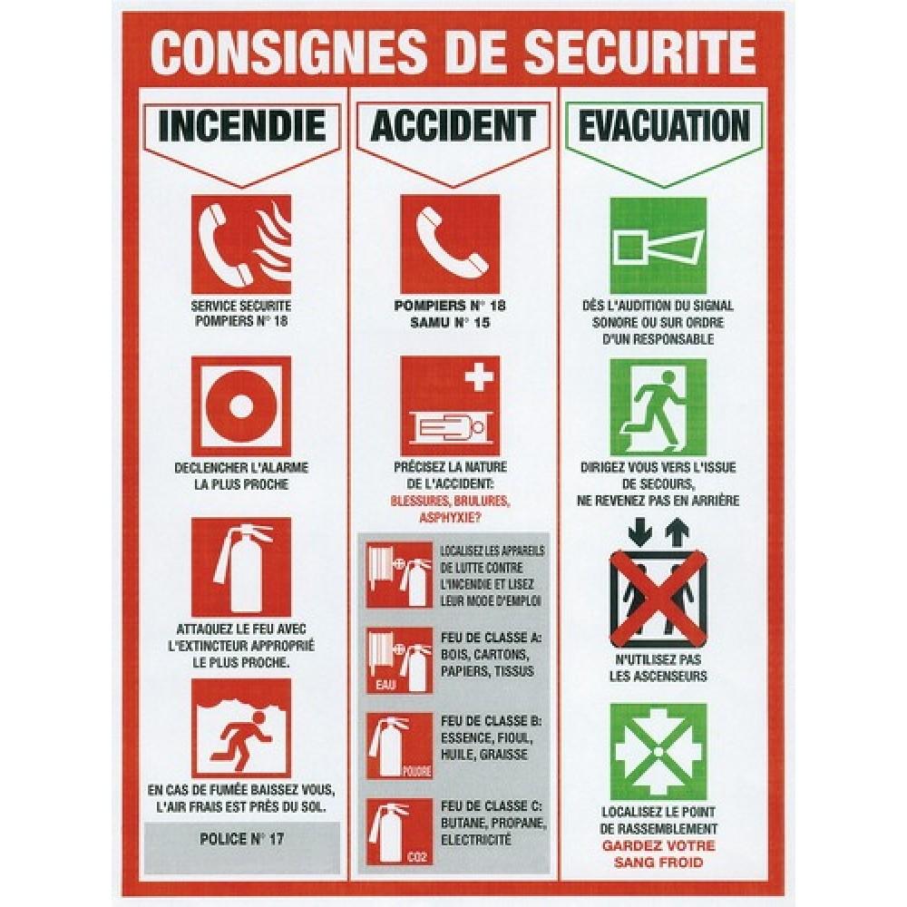 Panneau rectangle rigide de consignes de s curit s novap for Chambre de la securite