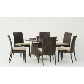 Table de jardin Tatiana 120 : 1 table 120 cm et 6 chaises Marzia, coussins écru INDOOR OUTDOOR