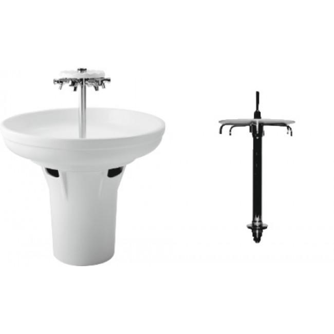 Colonne avec robinetterie centrale - 6 becs - pour vasque circulaire PORCHER