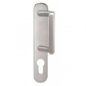Poignée de porte palière sur plaque - en laiton nickelé - Diane CADAP