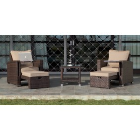 Salon de jardin VANILA : 2 fauteuils avec repose-pieds, 1 table basse, coussins INDOOR OUTDOOR