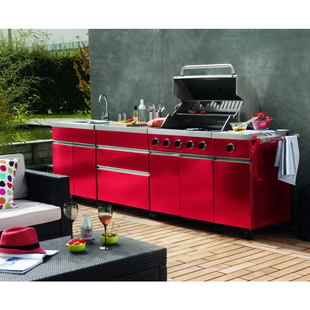 Cuisine d 39 ext rieure 5 br leurs r chaud vier street garden rouge b - Evier cuisine exterieure ...