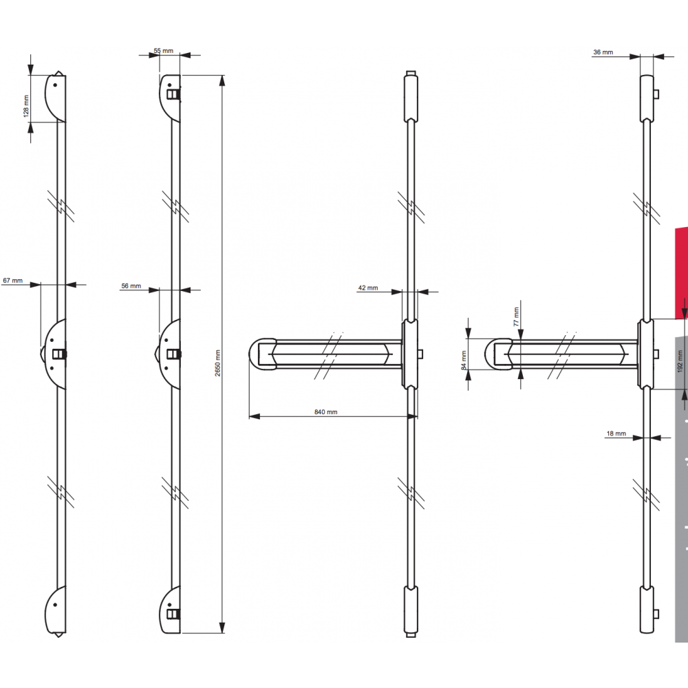 serrure anti panique coupe feu 3 points touch bar tp 300 dom bricozor. Black Bedroom Furniture Sets. Home Design Ideas