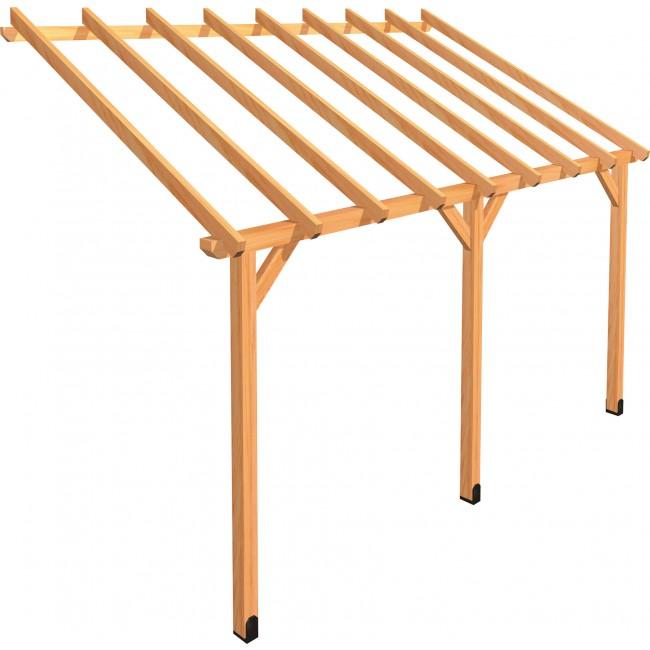 Carport en bois à adosser -  longueur 450 cm - Protek ABS4527 JARDIPOLYS