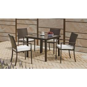Table de jardin Bahia 90 cm et 4 fauteuils Bahia 30 avec coussins INDOOR OUTDOOR