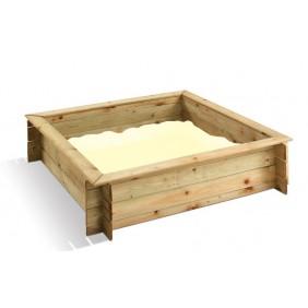 Bac à sable en bois avec couvercle - 120 x 120 cm - 180 litres - Ludik JARDIPOLYS