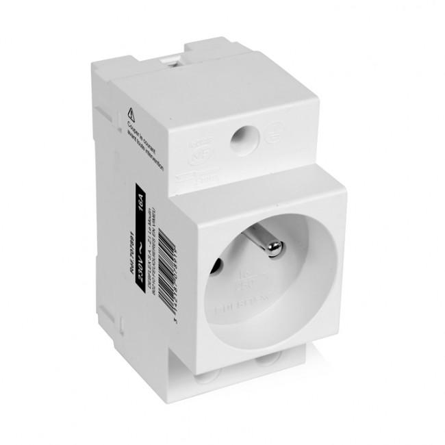 Prise de courant modulaire 2P+T - 10/16A - gris DEBFLEX