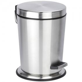 Poubelle à pédale de salle de bain Easy-close en acier inox 5 litres WENKO
