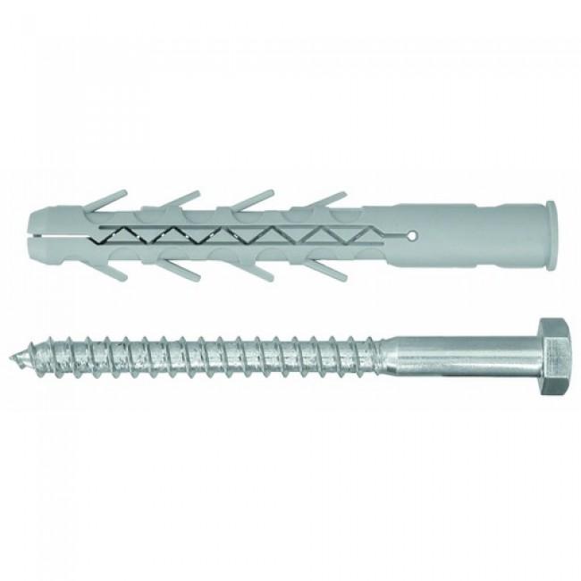 Cheville longues en nylon avec tirefond - fixation lourde - 4 pièces RAWL