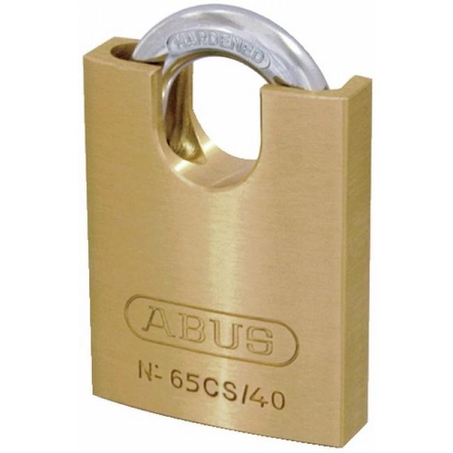 Cadenas à clé - corps laiton - anse protégée en acier cémenté - 65 CS ABUS