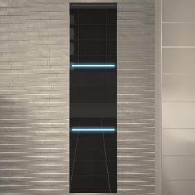 Colonne de salle de bains 30 cm- LED - 3 portes - Gris BAIN ROOM