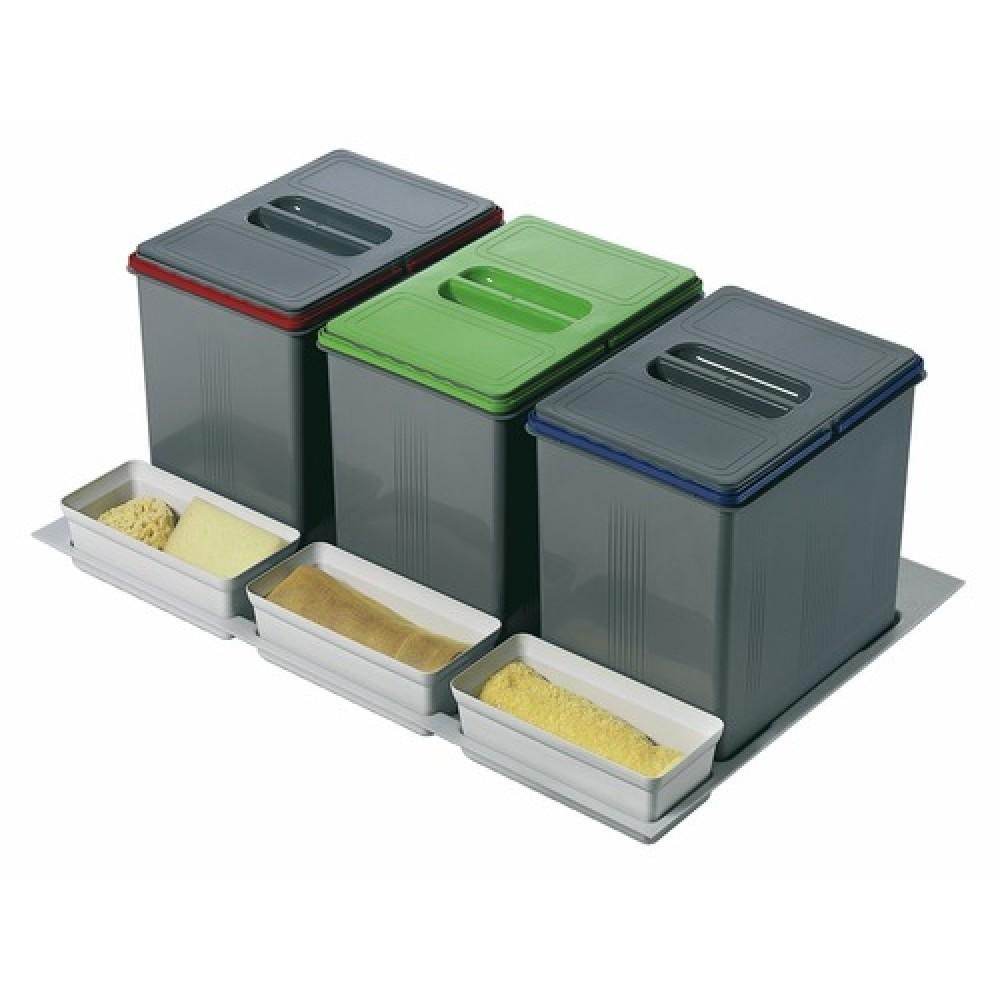 poubelles de tri sélectif sous évier - 3 bacs de 15 litres | bricozor