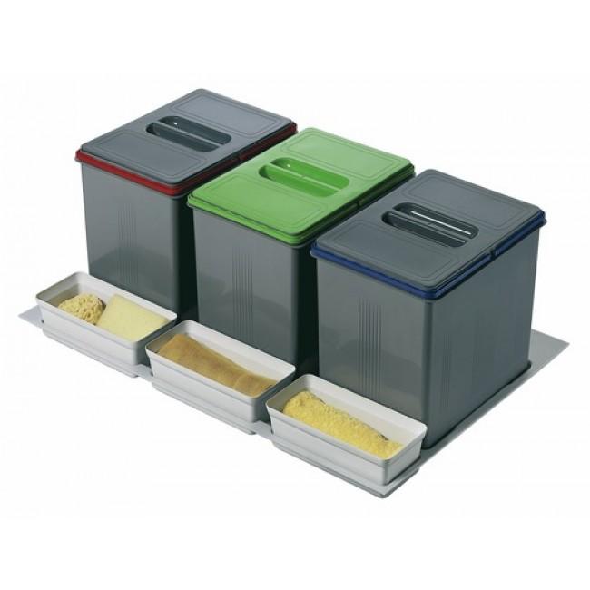 Poubelles de tri sélectif sous évier - 3 bacs de 15 litres