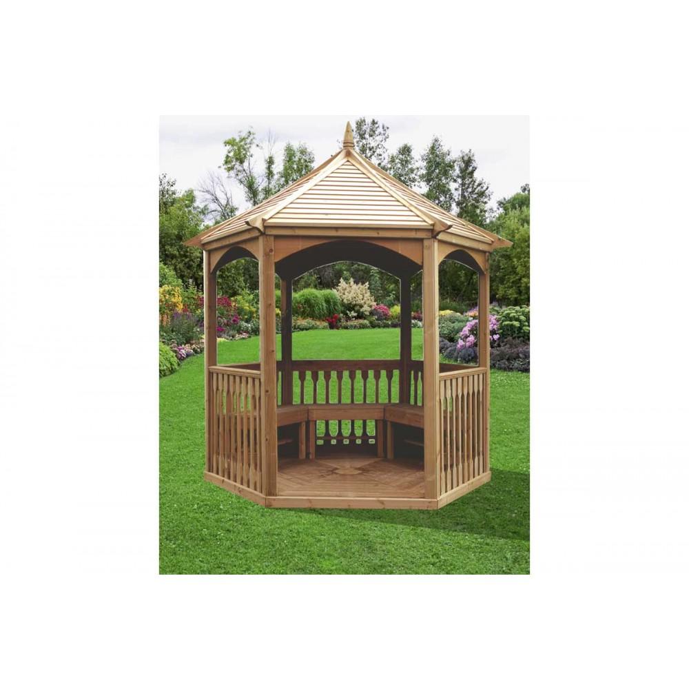 Kiosque En Bois Hexagonal kiosque de jardin hexagonal - diamètre 2,8 m - hauteur 3 m - ki 28 habrita