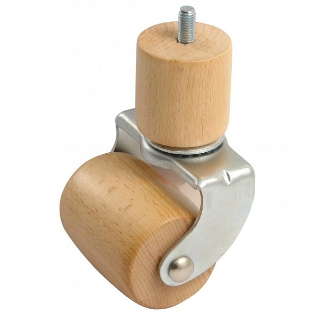 Roulette en bois sur platine pivotante - charge 100 kg AVL