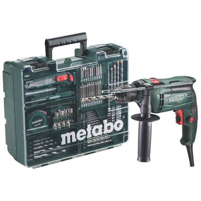 Perceuse visseuse à percussion SBE 650 + coffret 79 accessoires METABO