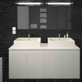 Meuble de salle de bain 120 cm - Cologne - Blanc ou Gris mat BAIN ROOM