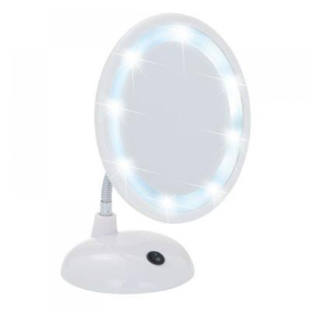 Miroir grossissant x3 - à pied - bras flexible - LED WENKO | Bricozor