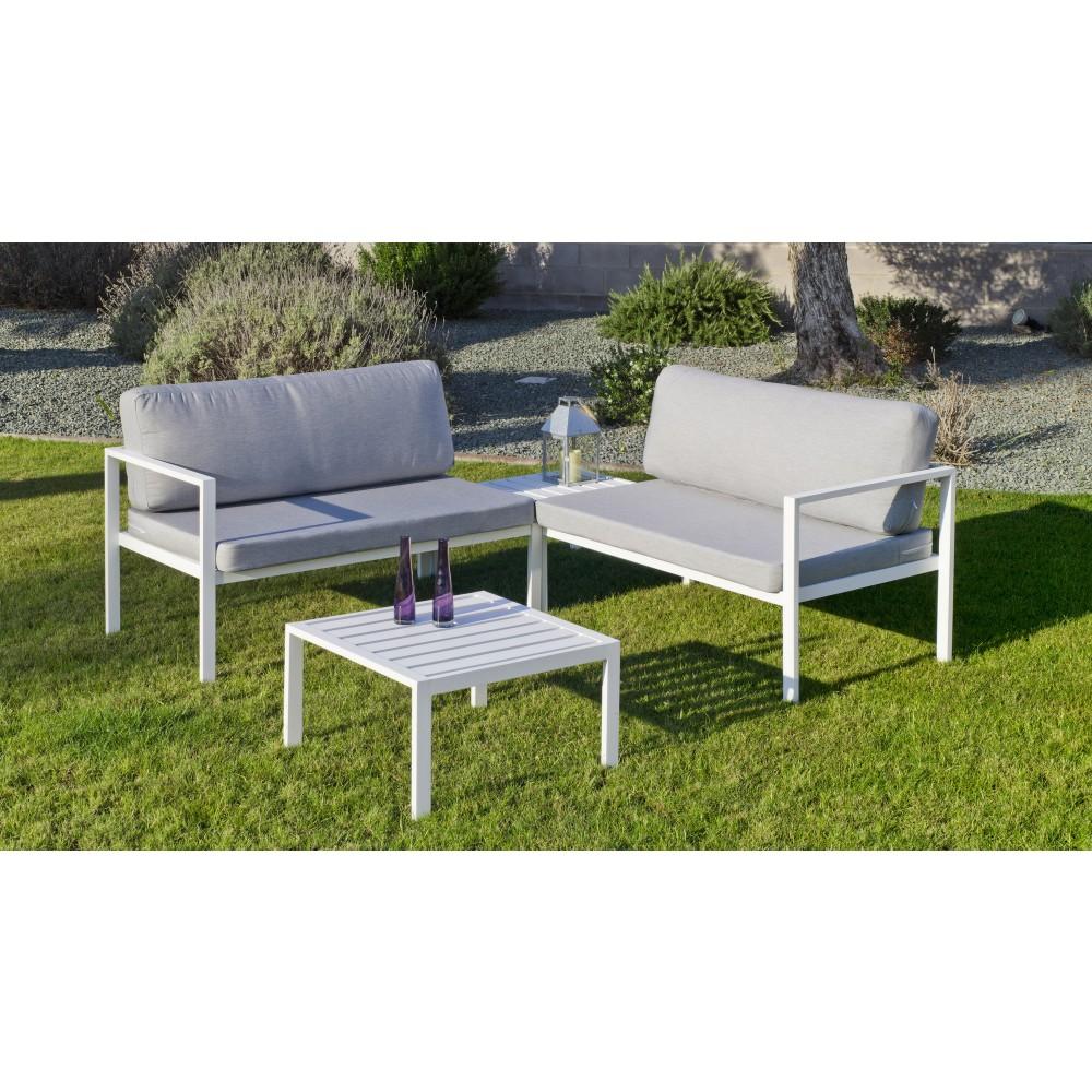 Salon de jardin - aluminium blanc - coussins gris clair ...