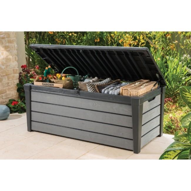 Coffre de jardin en r sine 455 litres brossium gris for Coffre jardin resine gris