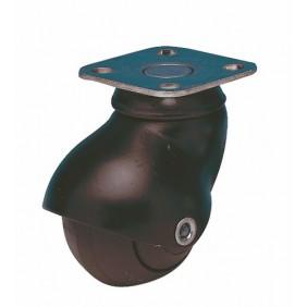 Roulette Tono en caoutchouc noir sur platine GUITEL
