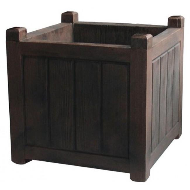 Bac carré - bois foncé - 67 litres - Charme 13815 EDA PLASTIQUES