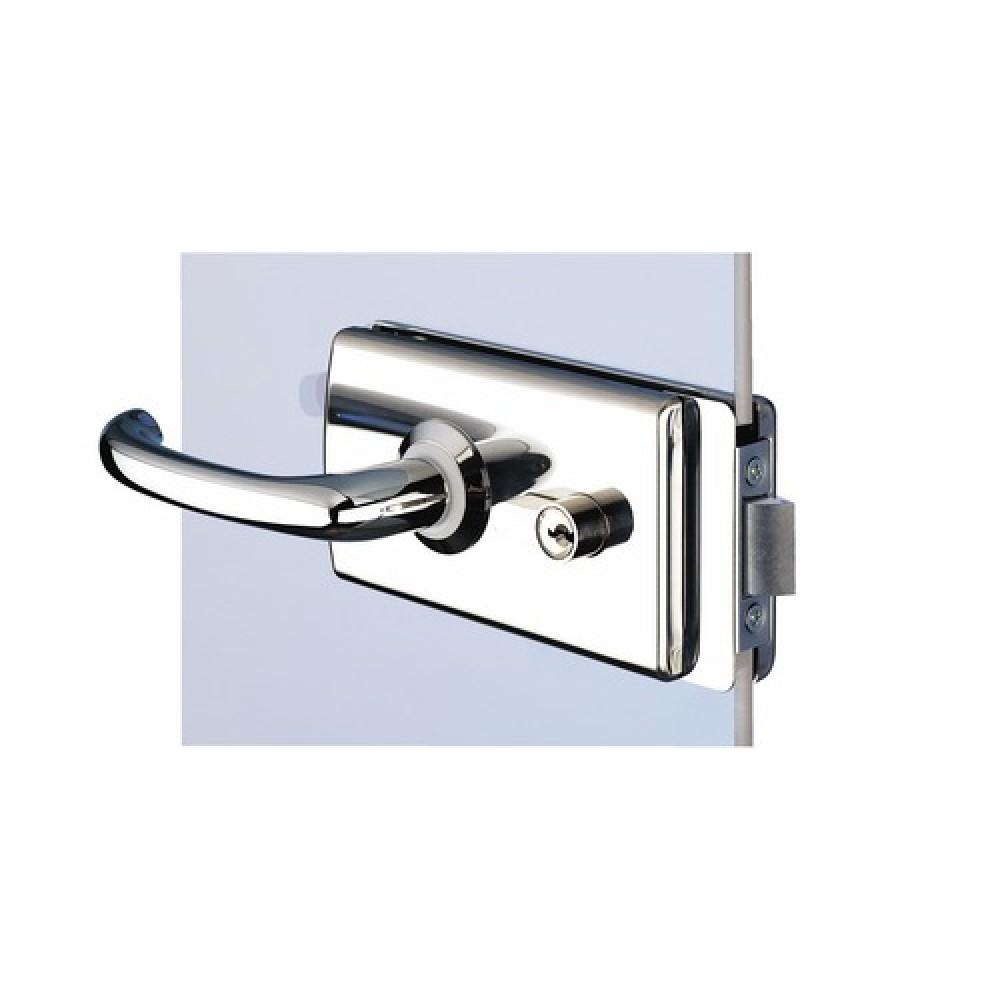 Serrure porte verre cloison aluminium chrom 4360 4380 stremler bricozor - Mecanisme serrure porte interieure ...