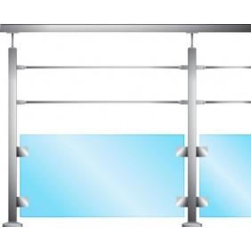 Poteau carré garde corps pour 2 barres - fixation à la française - inox Design Production
