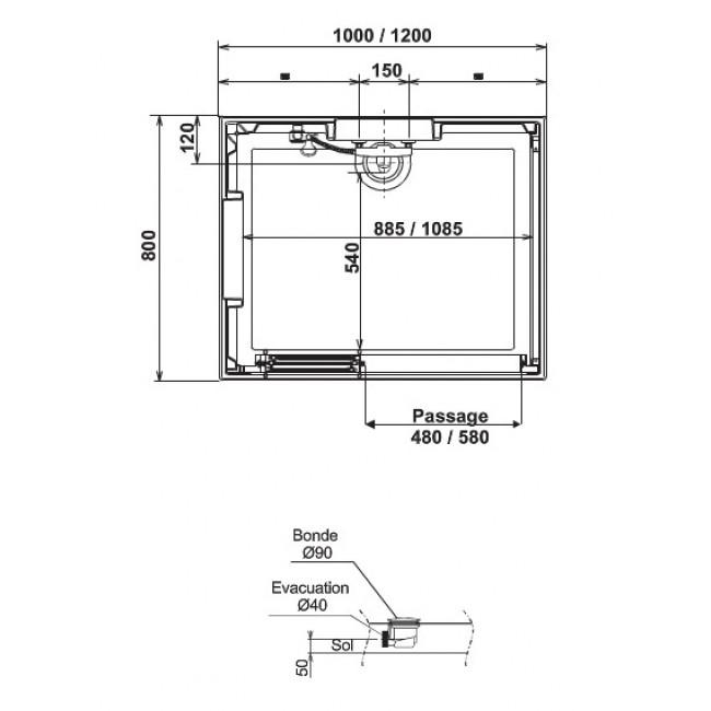 Cabine de douche 100 x 80 cm acc s d 39 angle par portes - Porte de douche pivotant 100 ...