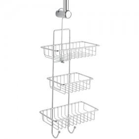 Serviteur de douche à suspendre - Milano - 3 paniers 2 crochets WENKO