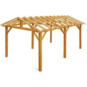 Carport en bois traité classe 3 - 1 voiture - 18 m² - Vercors JARDIPOLYS