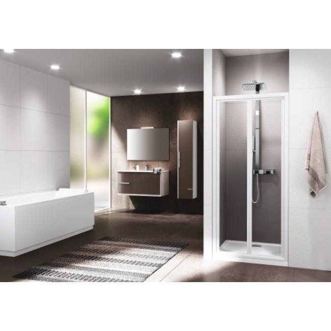 Porte de douche pliante - profilé blanc -v erre transparent - Riviera 2.0 S NOVELLINI