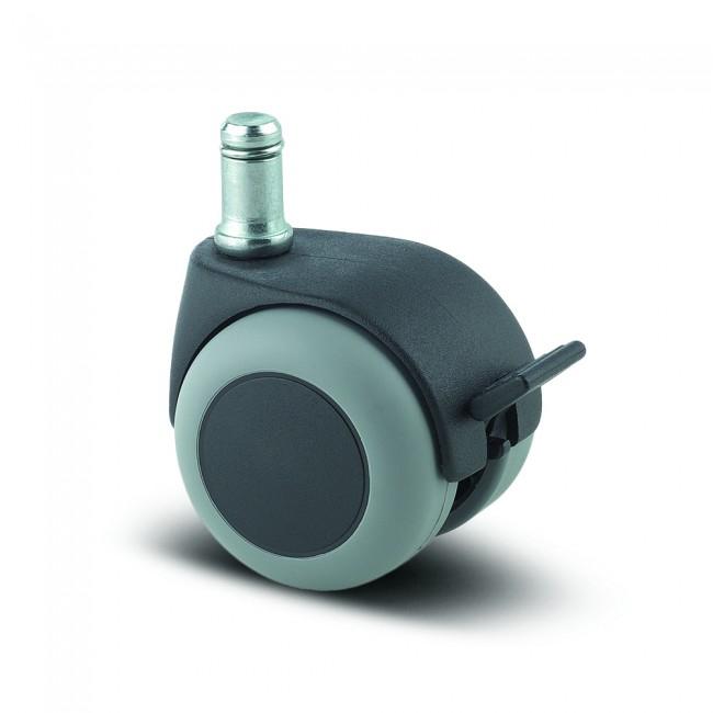 Roulette pivotante à frein pour chaise et fauteuil - moyeu lisse - Lumina TENTE
