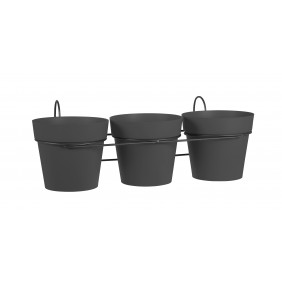Lot 3 pots anthracite + support - 1,1 litres - Toscane 11460