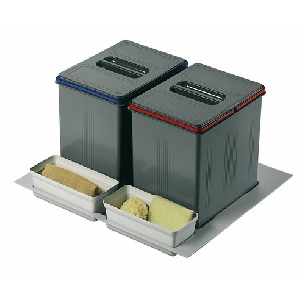 poubelles de tri s lectif sous vier 2 bacs de 15 litres wesco france bricozor. Black Bedroom Furniture Sets. Home Design Ideas