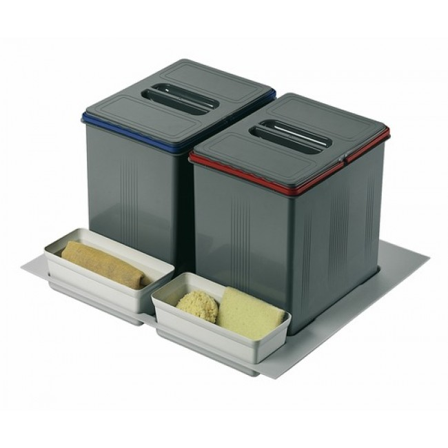 poubelles de tri s lectif sous vier 2 bacs de 15 litres. Black Bedroom Furniture Sets. Home Design Ideas