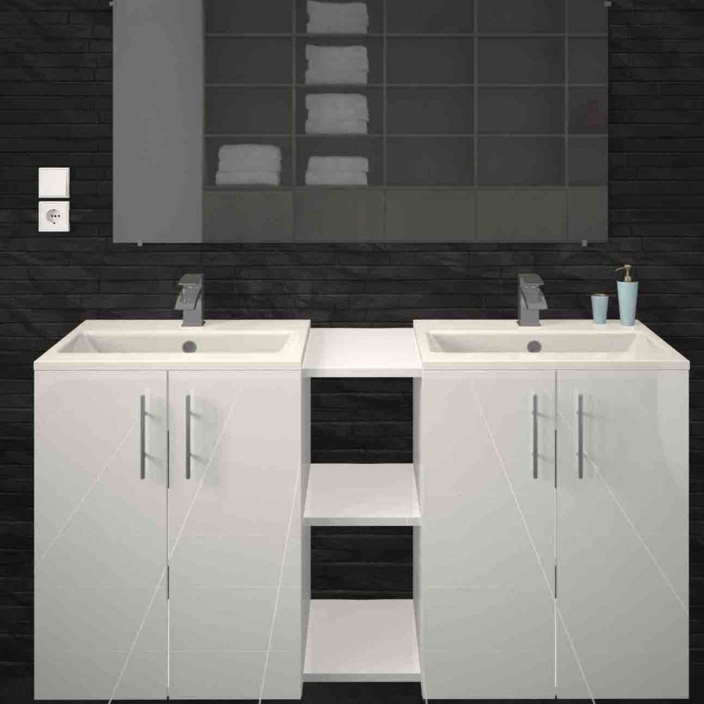 Salle De Bain Com meuble de salle de bain 120 cm - différentes finitions - lime bain room sur  bricozor